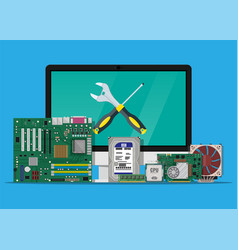 Assembling and service pc computer hardware vector