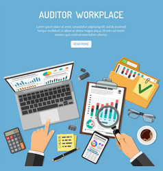 Auditor workplace concept vector