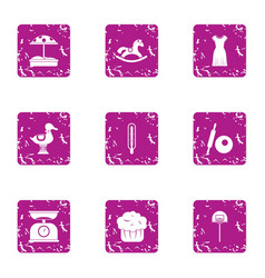 Baby food icons set grunge style vector