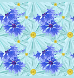 background with light blue daisies and blue lilac vector image