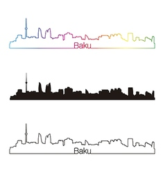 Baku skyline linear style with rainbow vector