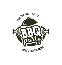 Bbq party label in monochrome style invitation to vector
