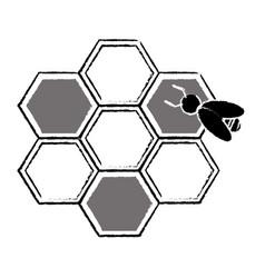 Bee hive team work community concept sketch vector