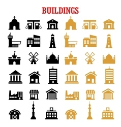 Black and yellow flat building icons vector
