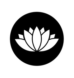 black lotus icon in black circle vector image