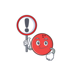 Bowling ball character cartoon with sign vector