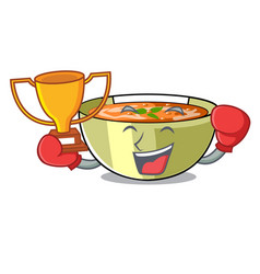 boxing winner lentil soup on a cartoon plate vector image