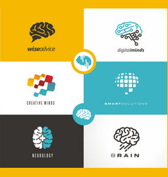 Brain logo designs set artificial intelligence ai vector