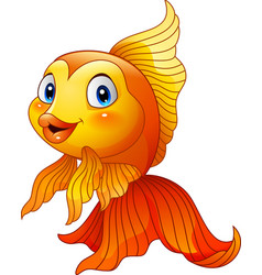 cartoon golden fish vector image