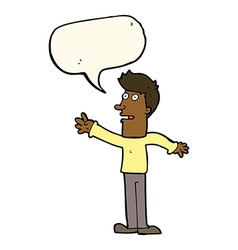 Cartoon man reaching with speech bubble vector