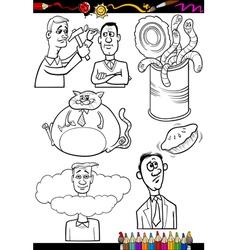 Cartoon sayings set for coloring book vector