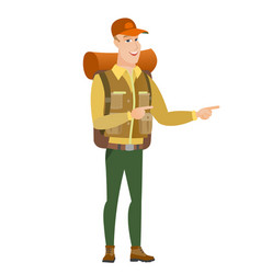 caucasian traveler pointing to the side vector image