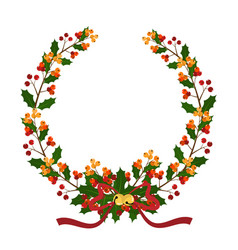 christmas wreath decorated with holly branch vector image