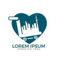 city shopping heart shape logo design vector image