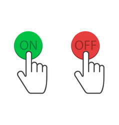 Clicking hand on and off buttons in red and green vector
