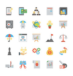 Collection of finance management flat icons vector