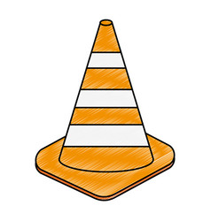 Construction cones isolated icon vector