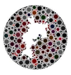 covid19 virus hole circle komodo island map mosaic vector image