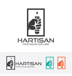 creative hand logo design vector image