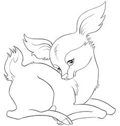 Cute cartoon baby deer coloring page vector