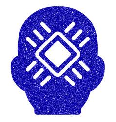 Cyborg head icon grunge watermark vector