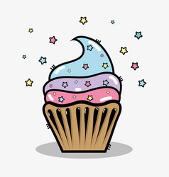Delicious cupcake to happy birthday celebration vector