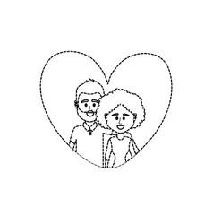dotted shape couple together inside heart design vector image