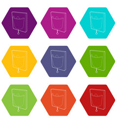 electric wall lamp icons set 9 vector image