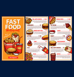 fast food menu with takeaway lunch meal and drinks vector image