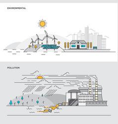 flat line color concept- environmental vector image