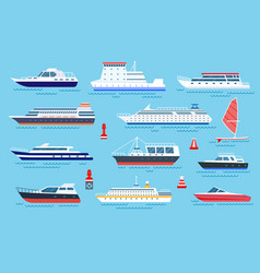 flat ships speed boats sea transport flat vector image