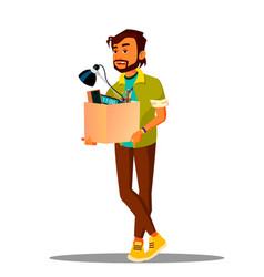Frustrated business loser leaves office with a box vector