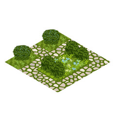 Garden asset with topiary bushes flowers grass vector
