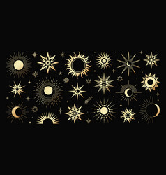 golden set mystical magic different sun vector image