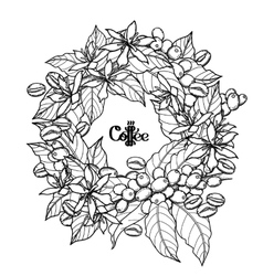 Graphic coffee wreath vector