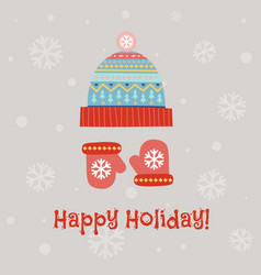 greeting card with winter hat and mittens vector image