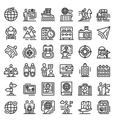Guide icons set outline style vector