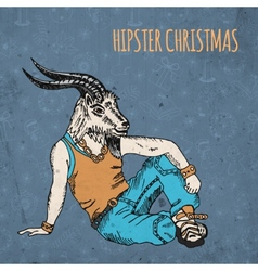 Hand drawn goat man Hipster Christmas greeting vector