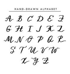 hand written alphabet cursive capital vector image