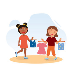 Happy cute little girls choose clothes together vector