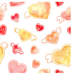 hearts pattern watercolor valentines day vector image