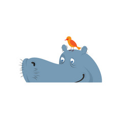 hippo in water hippopotamus in river large animal vector image vector image