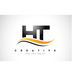 Ht h t swoosh letter logo design with modern vector