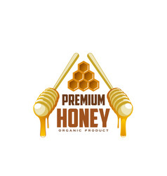 icon of honey dippers and honecomb vector image