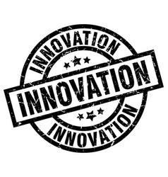Innovation round grunge black stamp vector