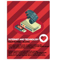 internet and technology color isometric poster vector image