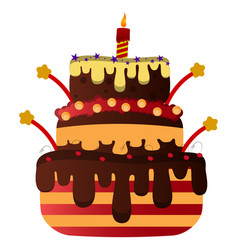isolated birthday cake vector image