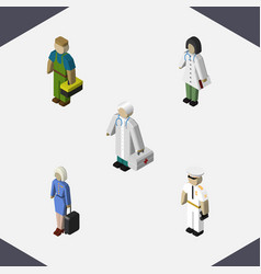 isometric human set of seaman doctor plumber and vector image