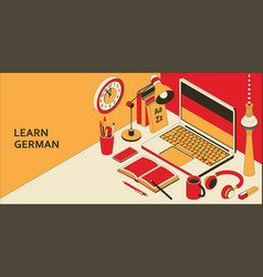 Learn german language isometric concept with open vector