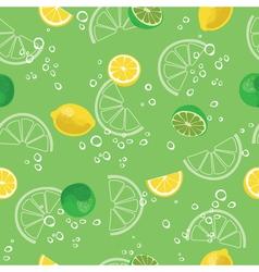 Lemon and lime lemonade green seamless pattern vector